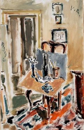 Filippo de Pisis, Interno dello studio, 1941, olio su tela cm 79,5 x 50