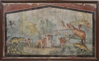 Scena nilotica, 55-79 d.C., affresco da Pompei, Casa del Medico ora al Museo Archeologico Nazionale di Napoli