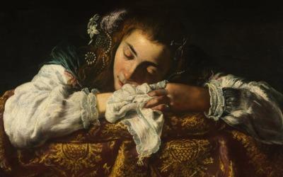 Domenico Fetti, Ragazza che dorme, 1620 - 1622, Museum of Fine Arts, Budapest
