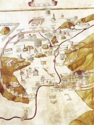 Pietro del Massaio, Pianta di Roma, 1472-1480, pergamena, Ptolomaeus, Geographia, Urb.Lat. 277, Biblioteca Apostolica Vaticana, Vaticano