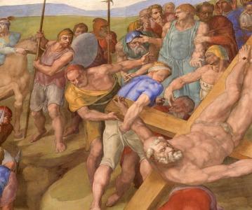 Michelangelo, Crocifissione di San Pietro, dettaglio